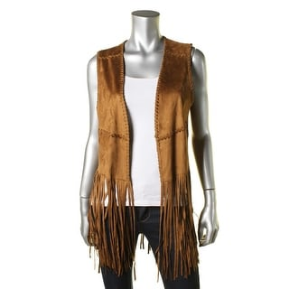 Blank NYC Womens Faux Suede Fringe Casual Vest - S