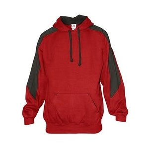 Badger Saber Hooded Sweatshirt - Red/ Charcoal - 4XL