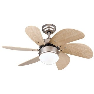 "Westinghouse 7814465 Turbo Swirl 30"" 6 Blade Hanging Indoor Ceiling Fan with Reversible Motor, Blades, Light Kit, and Down Rod"