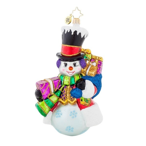 Christopher Radko Glass Top Hat Frosty Snowman Santa Christmas Ornament #1017943