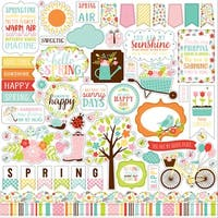 """Hello Spring Cardstock Stickers 12""""X12""""-Elements"""