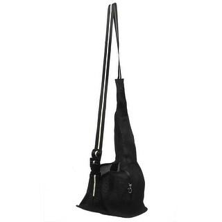 Black Oxford Cloth Mesh Design Adjustable Strap Zip Up Pet Dog Crossbody Bag S
