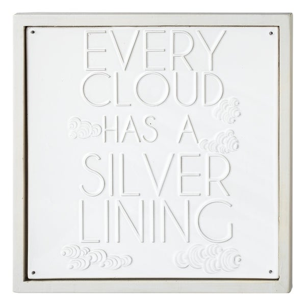 """13"""" White Porcelain Framed """"Every Cloud has a Silver Lining"""" Wall Plaque - N/A"""