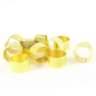 Unique Bargains 10 Pcs Tailors Sewing Stitching Metal Ring Shaped Thimble Gold Tone 18mm x 11mm