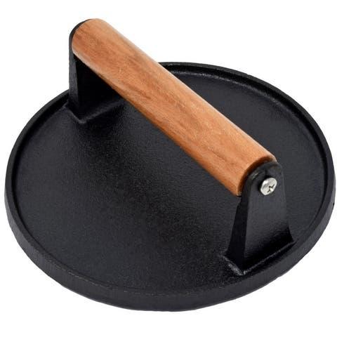 Evelots Bacon Press-Cast Iron-Heavy Duty-Wood Handle-Hamburger/Grilled Sandwich - Single unit