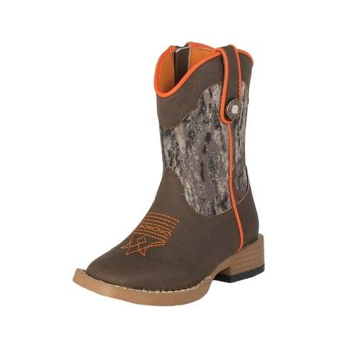 Double Barrel Western Boots Boys Buck Shot Camo Brown