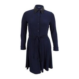 Lauren Ralph Lauren Women's Plus Size Jersey Belted Shirt Dress - Navy