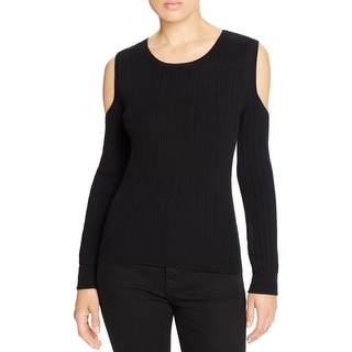 Marled Reunited Clothing Womens Pullover Sweater Ribbed Trim Cold Shoulder