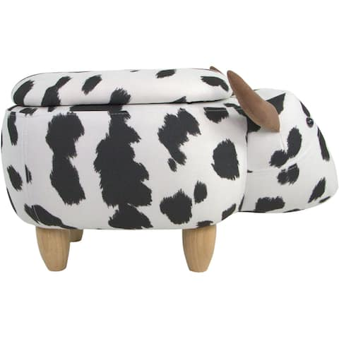 Critter Sitters 15-In. Seat Black-White Cow Shape Storage Ottoman, Furniture for Nursery, Bedroom, Playroom, Living Room Decor