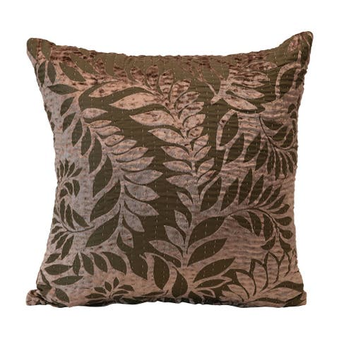 Cotton Pillow with Fern Leaves Pattern, Brown & Taupe