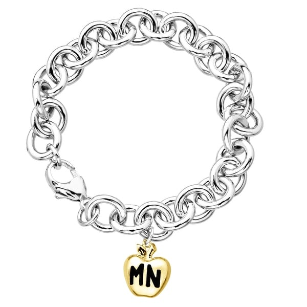 Manhattan Collection: Charm Bracelet in Sterling Silver with 14K Gold Big Apple Charm - Two-tone