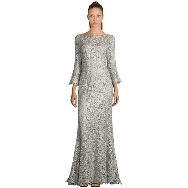 39f8580c93 Shop Teri Jon Lace Bell Sleeve Evening Gown Dress Silver - Free ...