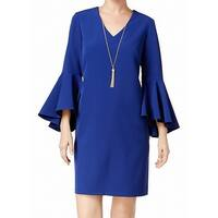 MSK Blue Womens Size 6 Bell-Sleeve V-Neck Necklace Shift Dress