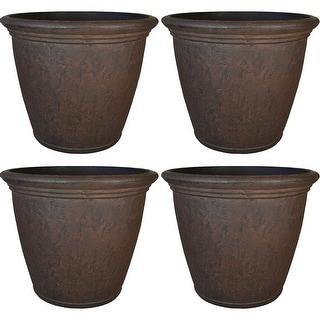 Sunnydaze Anjelica Outdoor Flower Pot Planter - Rust Finish - 16-Inch - 4-Pack