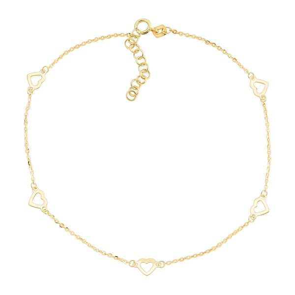 Just Gold Open Heart-Studded Anklet in 14K Gold - Yellow