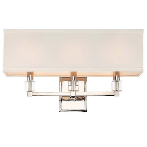 Dixon 3 Light Polished Nickel Bathroom Vanity - 21'' W x 11.25'' H x 6'' D - 21'' W x 11.25'' H x 6'' D