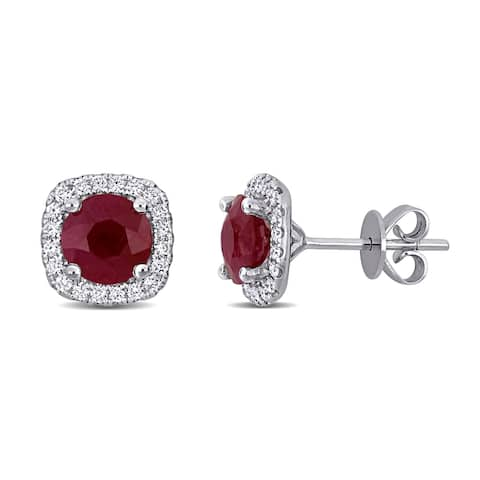 Miadora 14k White Gold Ruby and 1/3ct TDW Diamond Halo Stud Earrings - 9.5mm x 9.5mm x 6mm