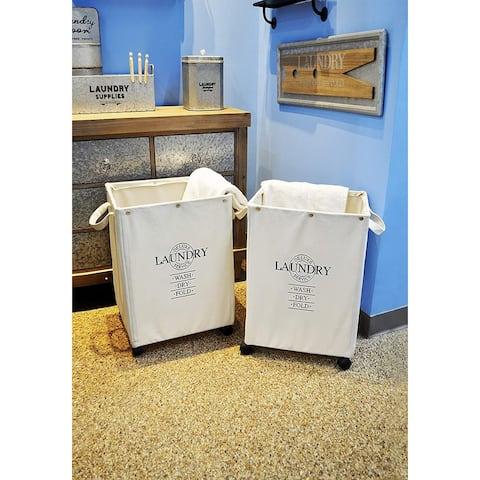 DesignStyles Set of 2 HEAVY DUTY Laundry Hampers on Wheels