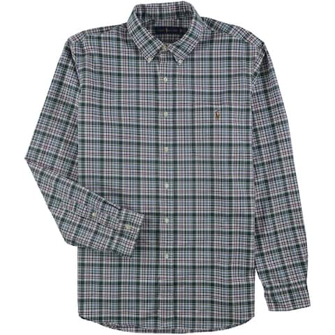 Ralph Lauren Mens Plaid Button Up Shirt, Green, Medium