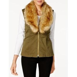 Vintage America NEW Green Women's Size Small S Vest Faux-Fur Jacket