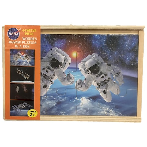 4-in-1 Space Puzzles 12-pc NASA Wood Puzzle Set - 9' x 12'