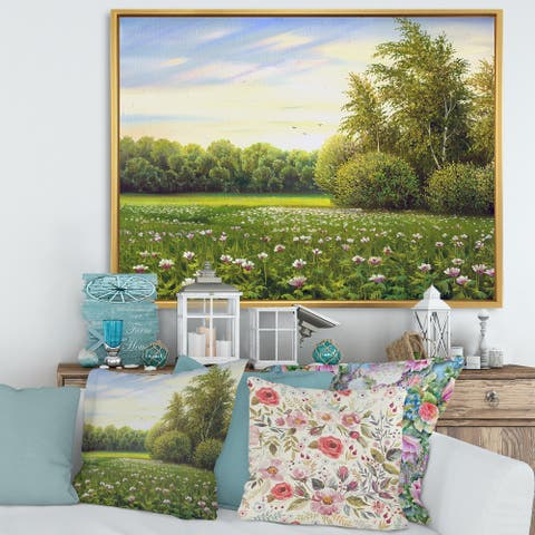 Designart 'Spring Trees By The Meadows' Country Framed Canvas Wall Art Print
