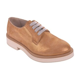Brunello Cucinelli Gold Suede Oxford Lace Up Shoes