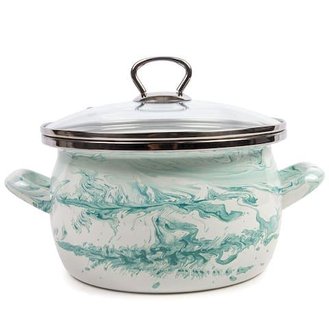 STP Goods 1.6-qt Shake White and Turquoise Enamel on Steel Pot