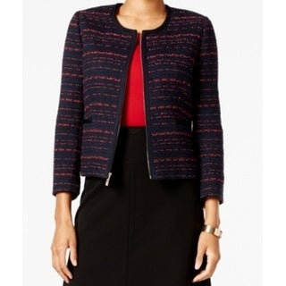 Tommy Hilfiger NEW Blue Women's Size 16 Striped Full Zip Jacket
