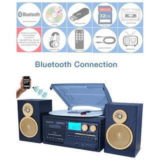 Boytone BT-28SPG 3-Speed Bluetooth Turntable System, Front Loading CD/MP3/Cassette Player, AM/FM Stereo Radio, Aux, SD Slot, USB