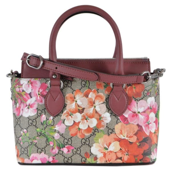 90bab20cd92 Gucci Women s 453177 SMALL GG Supreme BLOOMS 2-Way Shoulder Bag Purse -  Beige Brown