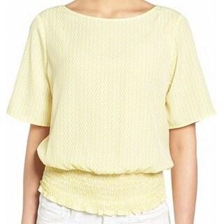 Michael Kors NEW Yellow White Women's Size Medium M Smocked-Hem Blouse