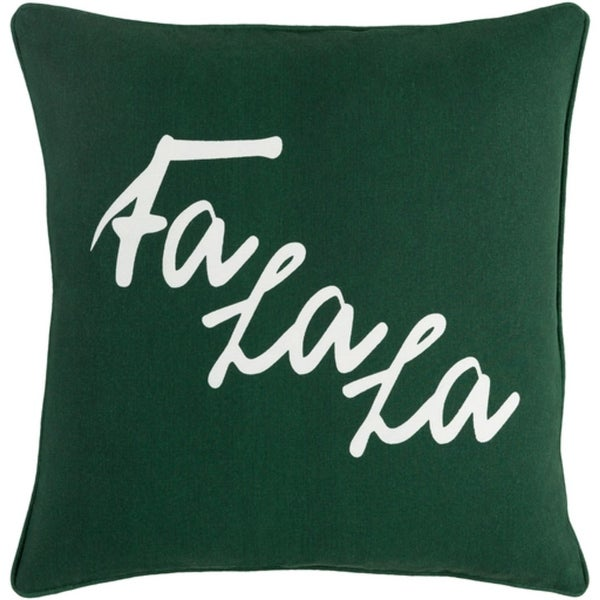 """18"""" Snow White and Forest Green Decorative Christmas """"Fa La La"""" Holiday Throw Pillow"""