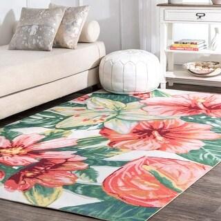 nuLOOM Multi Indoor/Outdoor Contemporary Tropical Majestic Lush Hibiscus Area Rug