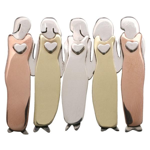 "Women's Five Women Pin - Tri Color Mixed Metals 1 1/4"" High"