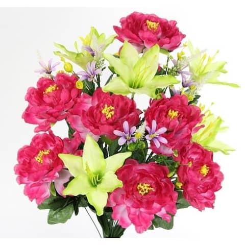 Spring Artificial Flowers and Mixed Bush - Stems Arrangement, ABN1B009-BT-CEL