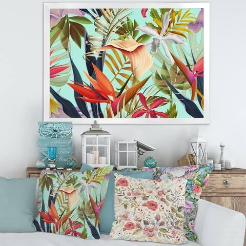 Designart 'Tropical VIntage Flowers II' Tropical Framed Art Print