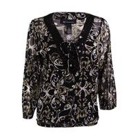 INC International Concepts Women's Embellished Mesh 2PC Top - sundial scroll