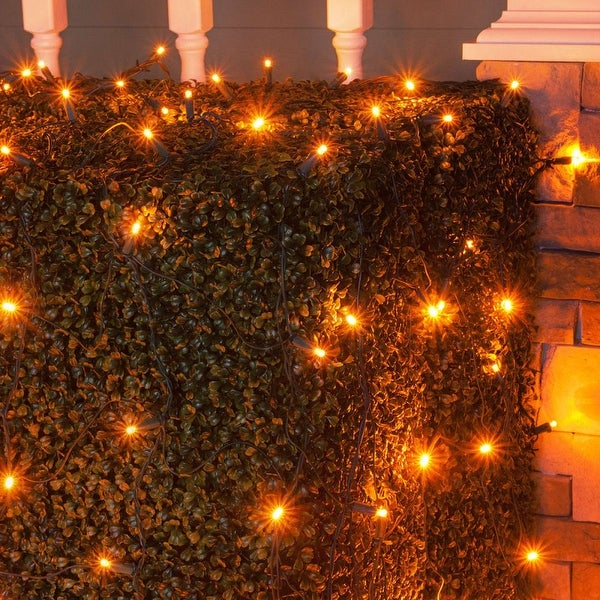 Wintergreen Lighting 72518 100 Bulb 4Ft x 6 Ft LED Decorative Holiday Net Light with Green Wire - Amber - N/A