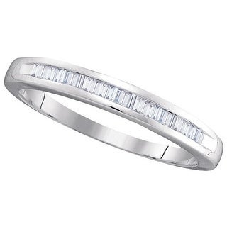 10kt White Gold Womens Baguette Natural Diamond Band Wedding Anniversary Ring 1/4 Cttw