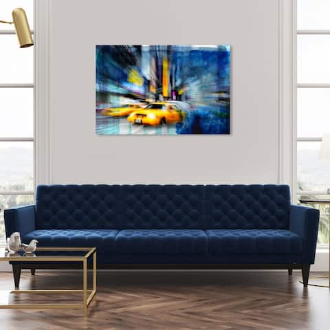 Oliver Gal 'Cab Blues' Cities and Skylines Wall Art Canvas Print United States Cities - Yellow, Blue