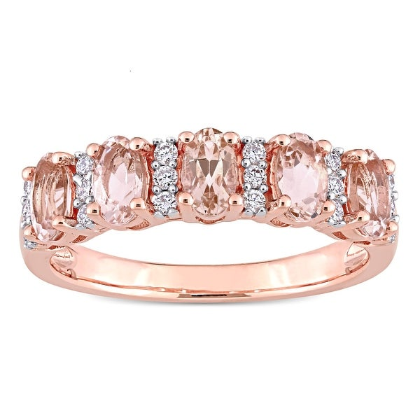 Miadora 14k Rose Gold Oval-Cut Morganite and 1/6ct TDW Diamond Anniversary Band Ring. Opens flyout.
