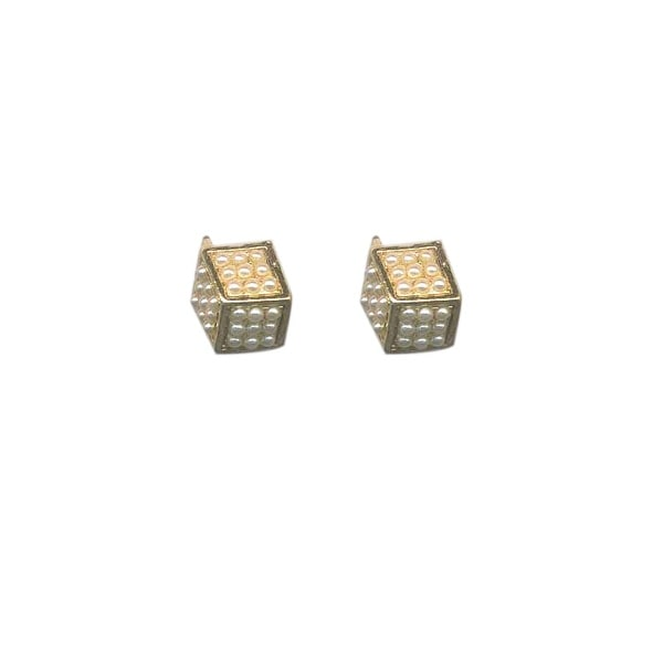 max & MO Pearl Dice Stud Earring - gold/pearl
