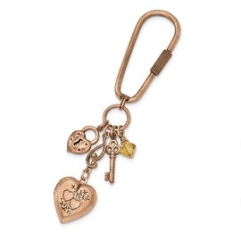 Copper Austrian Crystal Elements Multi-Charm and Locket Key Ring