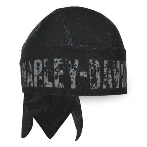 Harley-Davidson Men's Premium Distressed H-D Polyester Headwrap, Black HW34330 - One Size