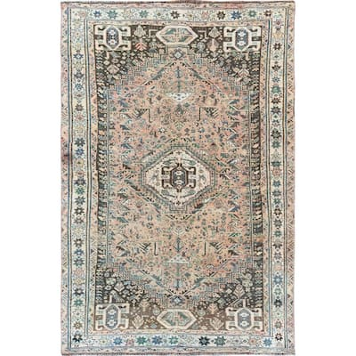 "Shahbanu Rugs Coral Vintage Persian Qashqai Worn Down Clean Hand Knotted Oriental Rug (5'4"" x 8'8"") - 5'4"" x 8'8"""