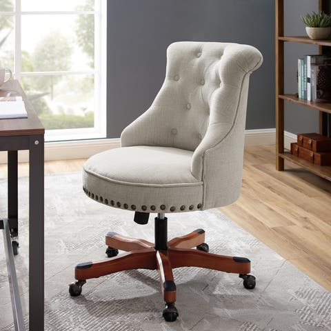 Linon Pamela Off-White Polyester Office Chair