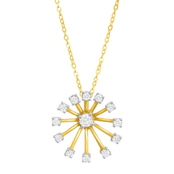 1/5 ct Diamond Starburst Pendant in 10K Gold