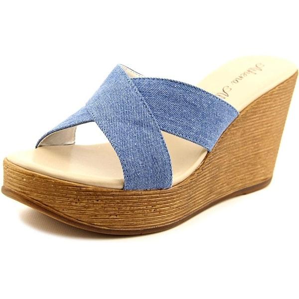 Athena Alexander Rialto Women Open Toe Canvas Blue Wedge Sandal