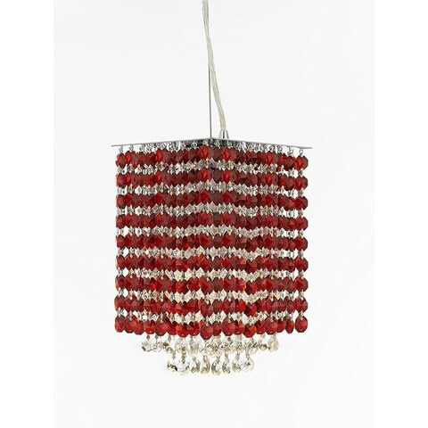 """Modern Contemporary Mini Pendant Chandelier Lighting Geometrics Quantum H 9"""" X W 6"""" - Dressed with Pink Color Crystal!"""